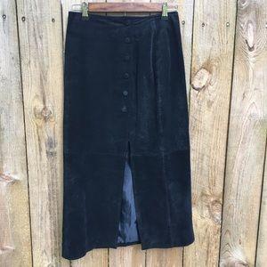 Vintage Black Suede Maxi Skirt EUC sz 5/6